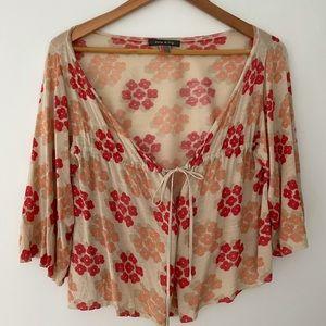 Orla Kiely Silk flower top thin tie front sweater